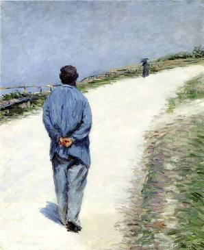 Gustave+Caillebotte+-+Man+in+a+Smock+aka+Father+Magloire+on+the+Road+between+Saint-Clair+and+Etretat+(1)+